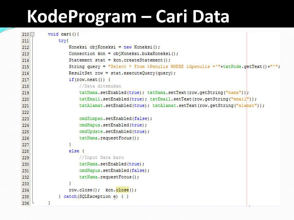 KodeProgram – Cari Data