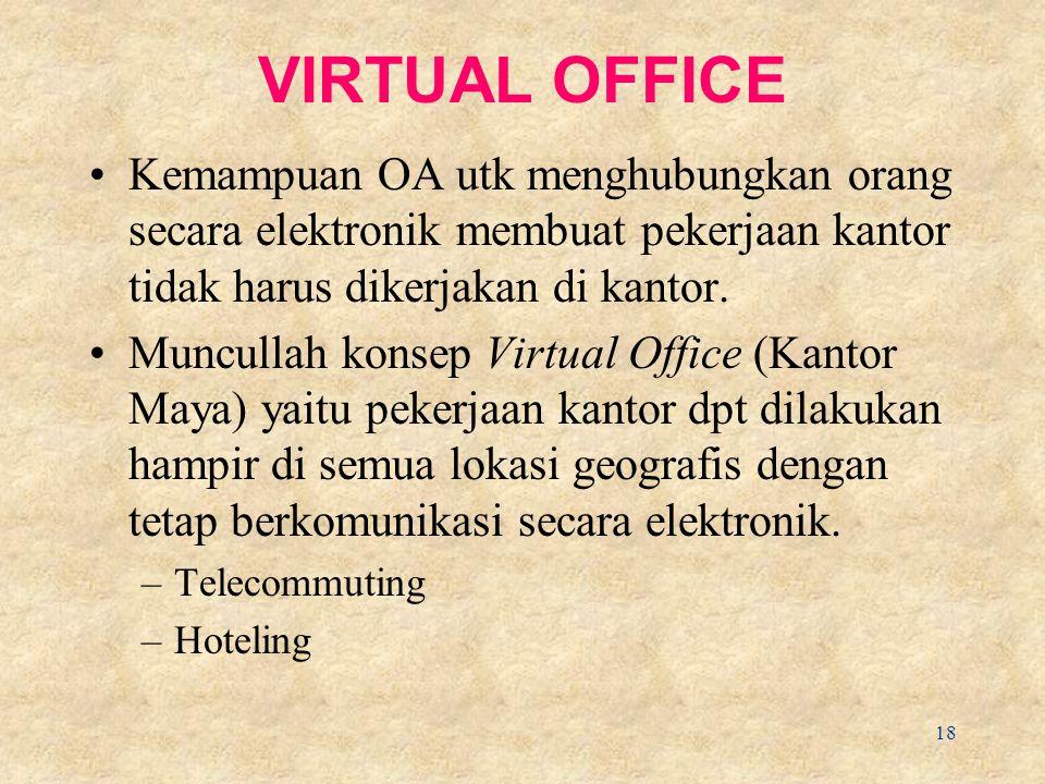VIRTUAL OFFICE Kemampuan OA utk menghubungkan orang secara elektronik membuat pekerjaan kantor tidak harus dikerjakan di kantor.