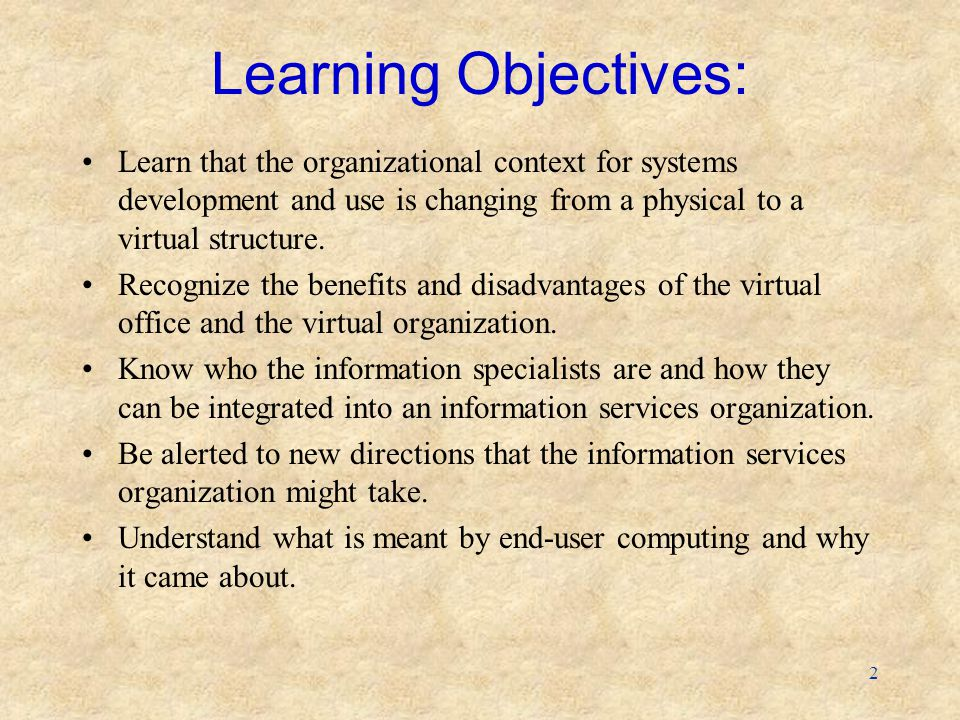 Learning Objectives: Learn that the organizational context for systems development and use is changing from a physical to a virtual structure.