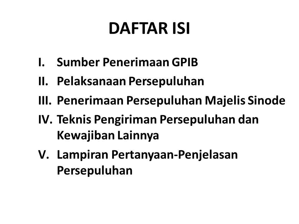 DAFTAR ISI Sumber Penerimaan GPIB Pelaksanaan Persepuluhan