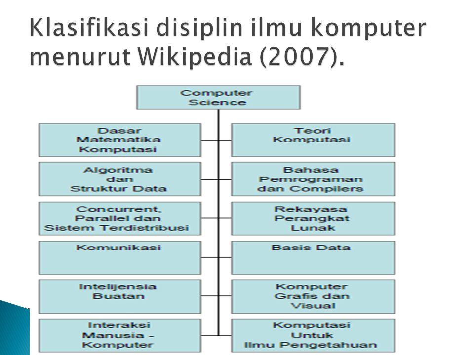 Klasifikasi disiplin ilmu komputer menurut Wikipedia (2007).