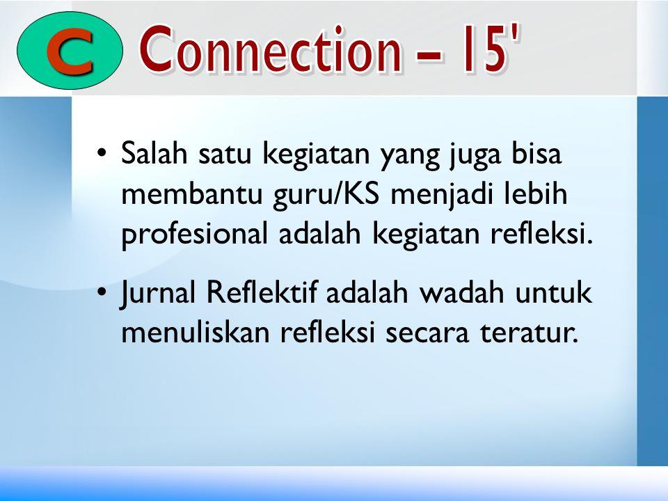 C Connection – 15 Salah satu kegiatan yang juga bisa membantu guru/KS menjadi lebih profesional adalah kegiatan refleksi.