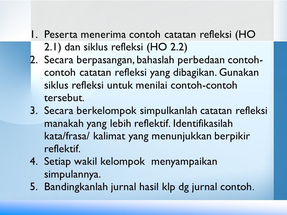 Peserta menerima contoh catatan refleksi (HO 2