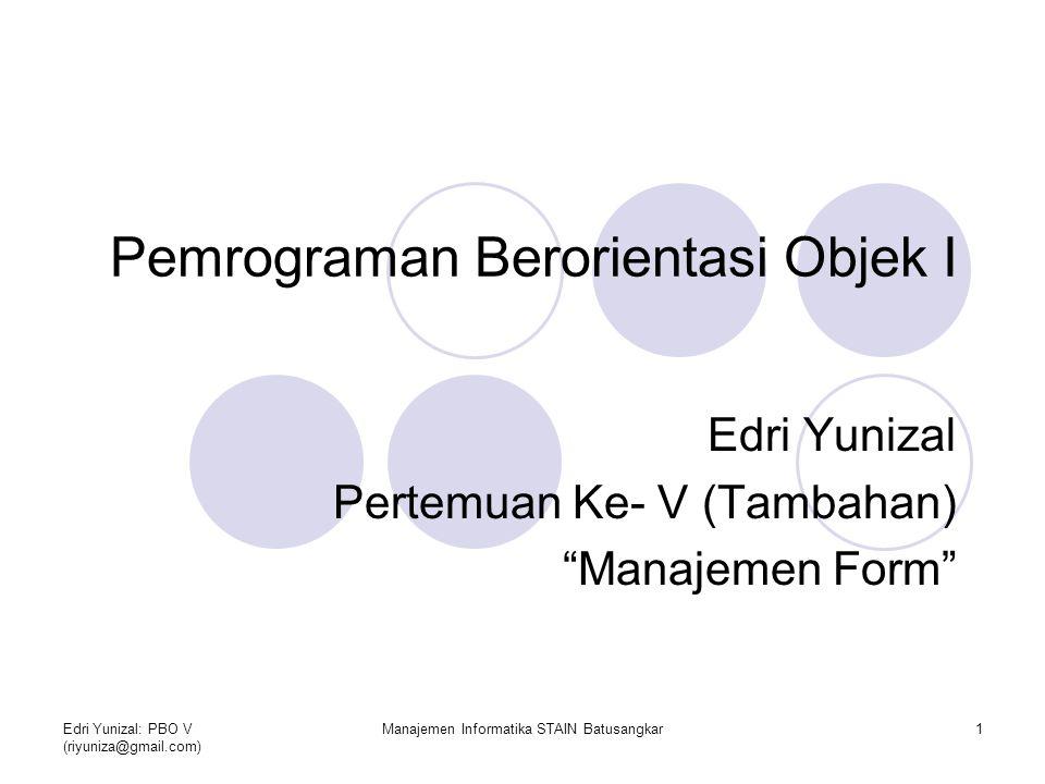 Pemrograman Berorientasi Objek I