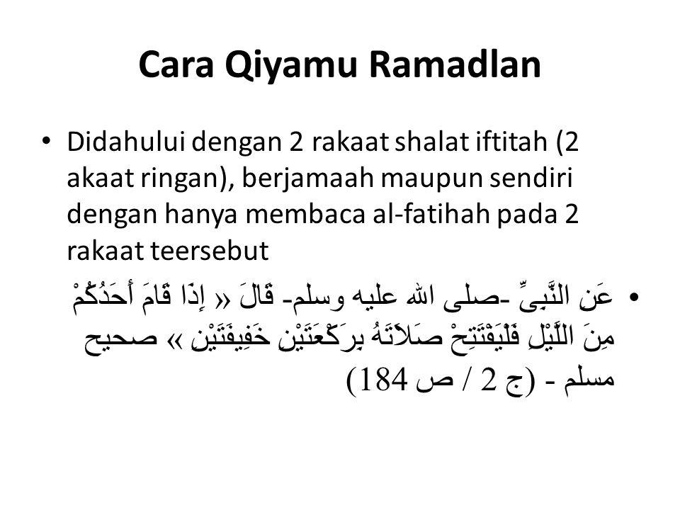 Cara Qiyamu Ramadlan