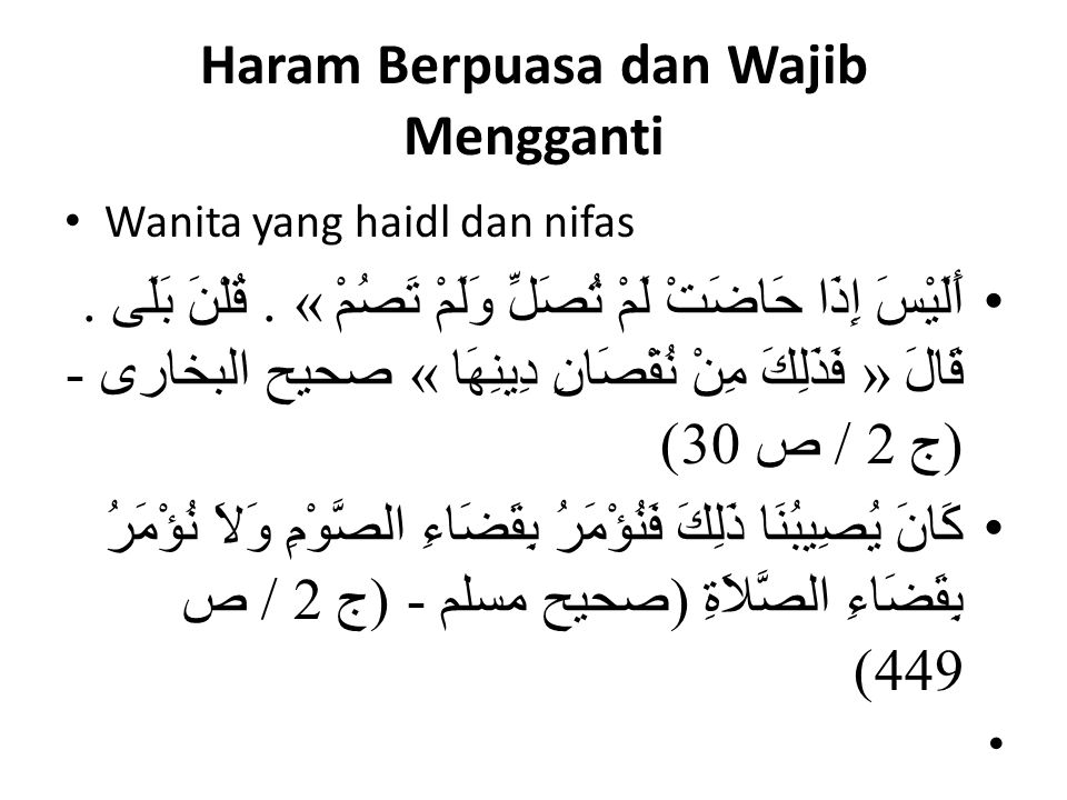 Haram Berpuasa dan Wajib Mengganti