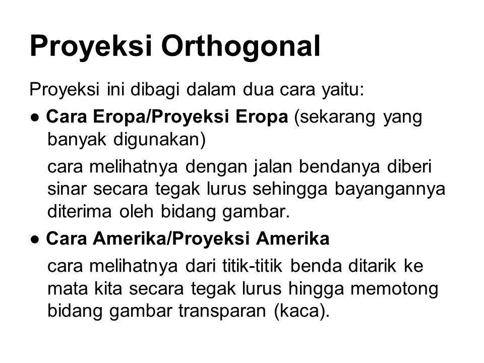 Proyeksi Orthogonal Proyeksi ini dibagi dalam dua cara yaitu: