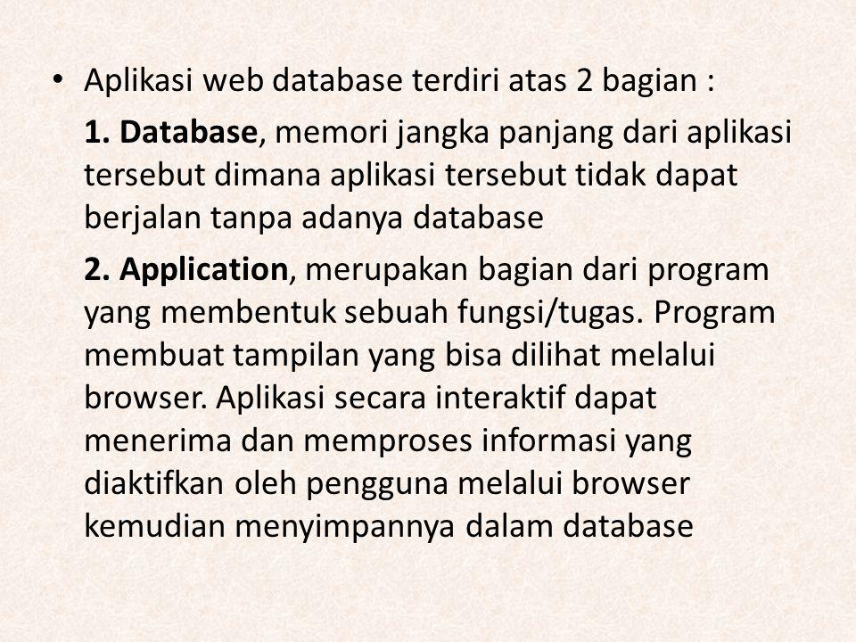 Aplikasi web database terdiri atas 2 bagian :