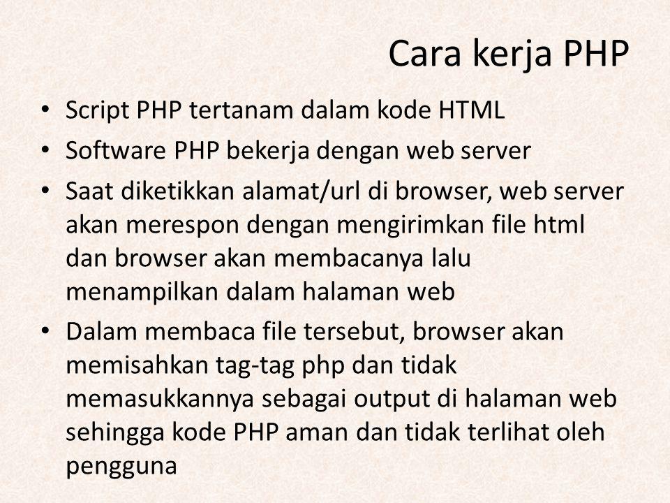 Cara kerja PHP Script PHP tertanam dalam kode HTML