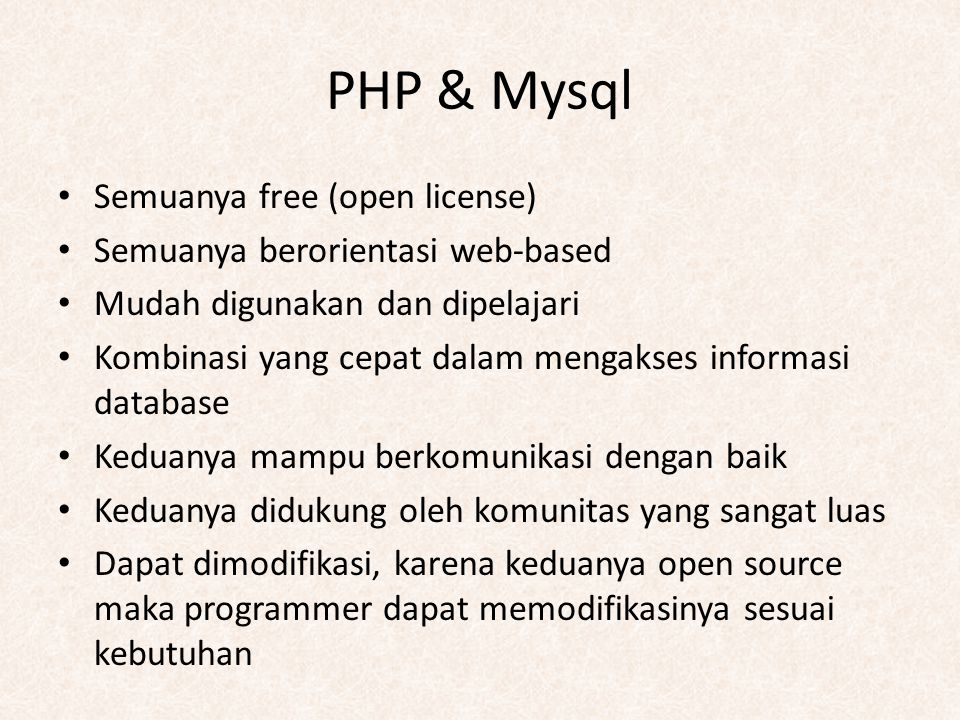 PHP & Mysql Semuanya free (open license)
