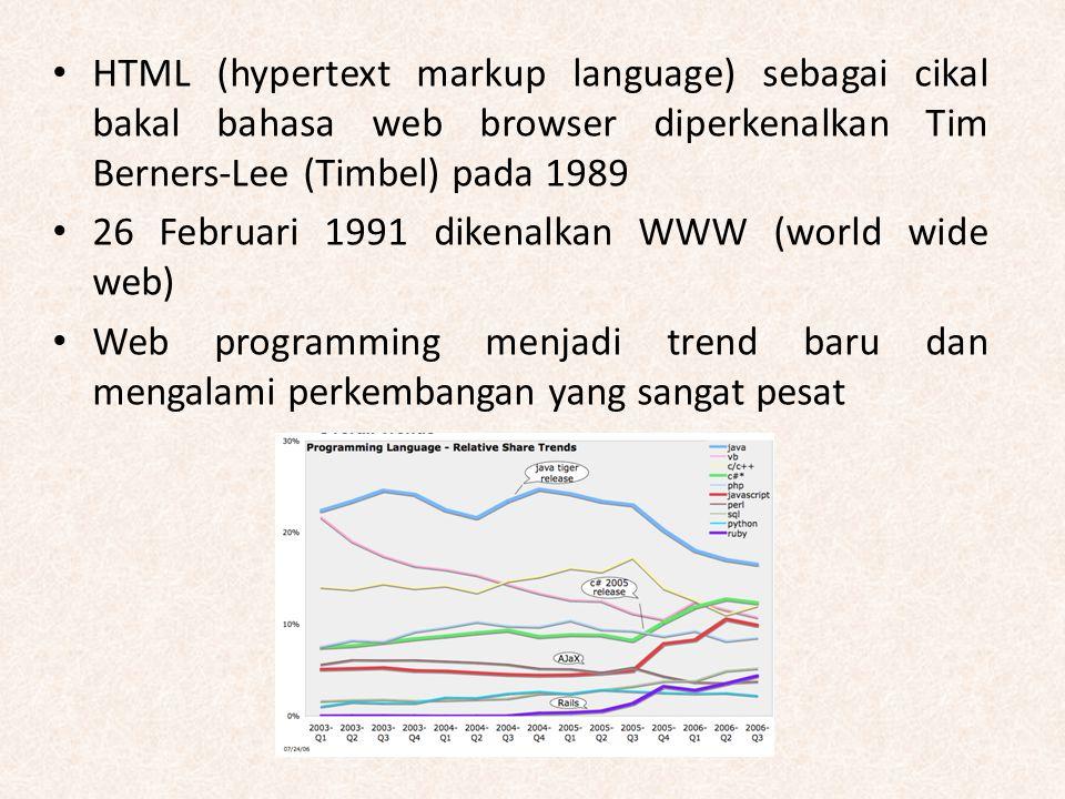 HTML (hypertext markup language) sebagai cikal bakal bahasa web browser diperkenalkan Tim Berners-Lee (Timbel) pada 1989