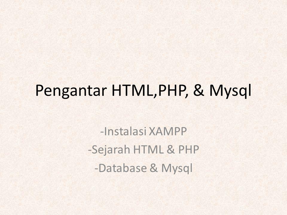 Pengantar HTML,PHP, & Mysql