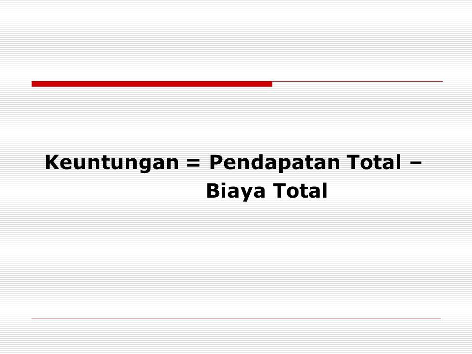 Keuntungan = Pendapatan Total –