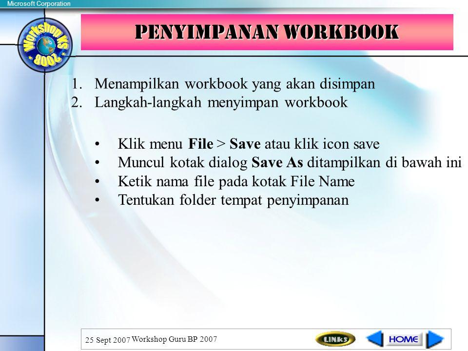 Penyimpanan Workbook Menampilkan workbook yang akan disimpan