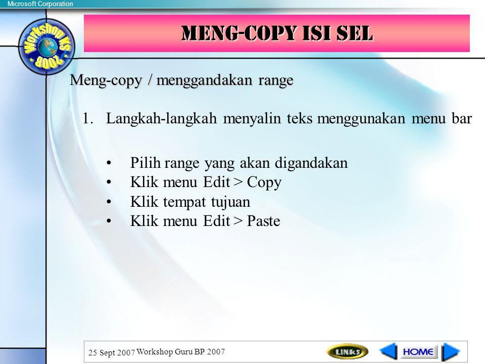 Meng-copy isi sel Meng-copy / menggandakan range