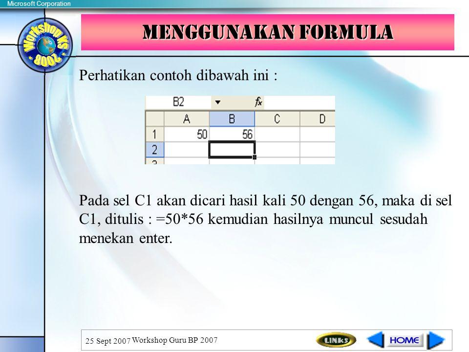 Menggunakan formula Perhatikan contoh dibawah ini :