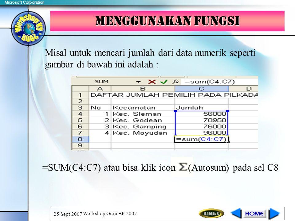 Menggunakan fungsi Misal untuk mencari jumlah dari data numerik seperti gambar di bawah ini adalah :