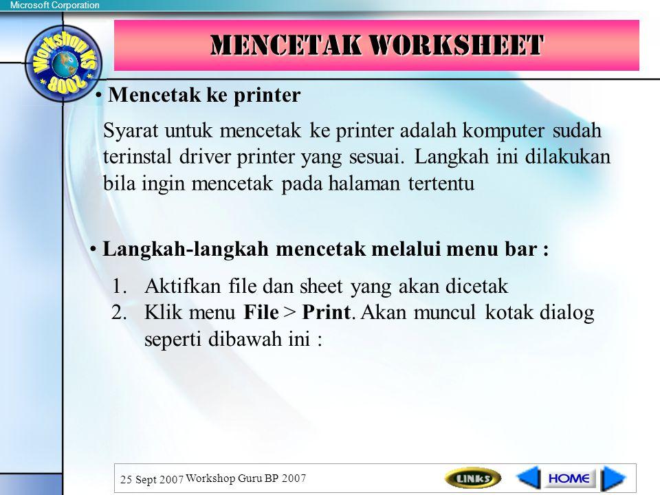 Mencetak WorkSheet Mencetak ke printer