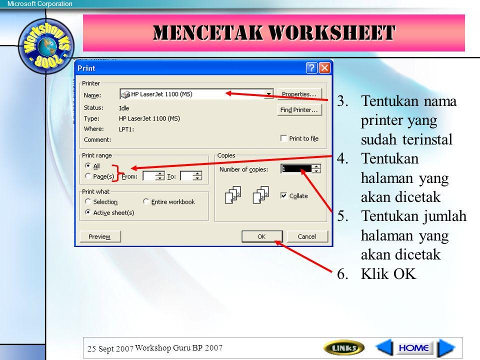 Mencetak WorkSheet Tentukan nama printer yang sudah terinstal