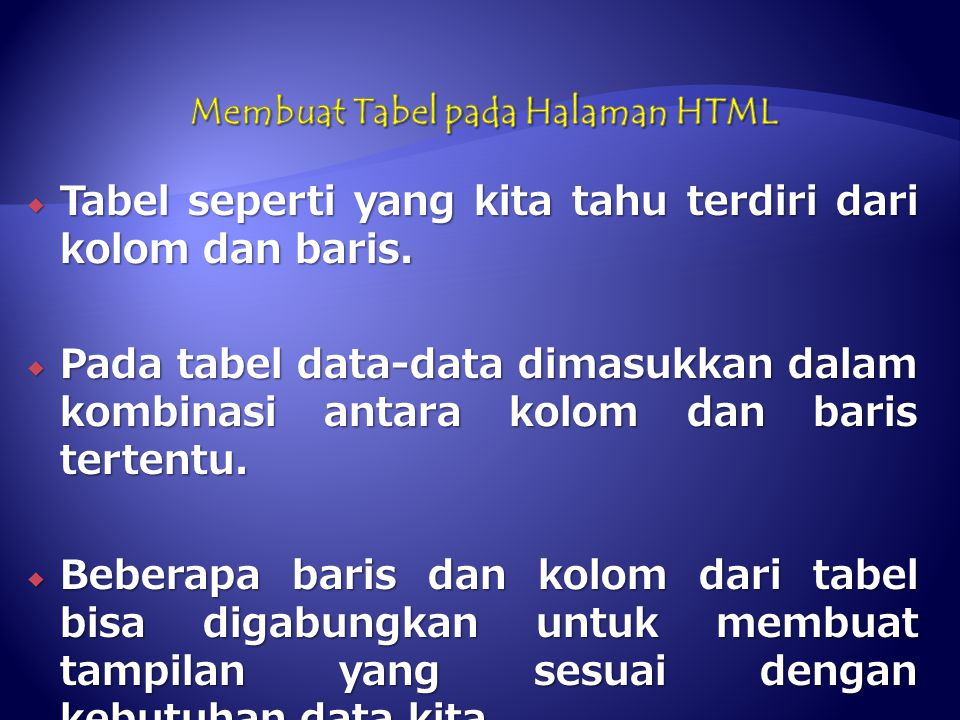 Membuat Tabel pada Halaman HTML
