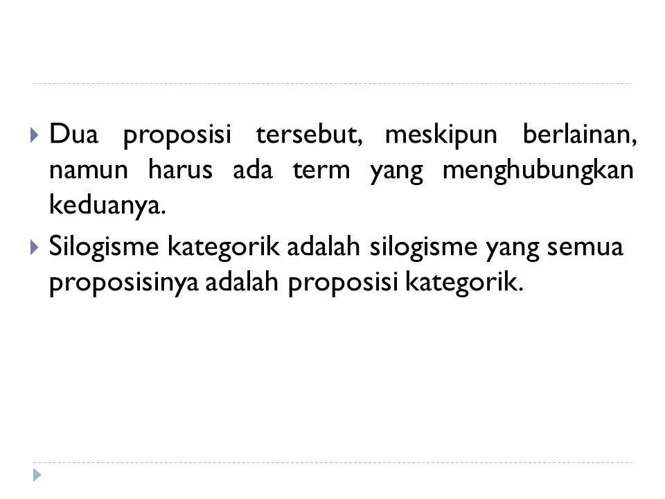 Dua proposisi tersebut, meskipun berlainan, namun harus ada term yang menghubungkan keduanya.