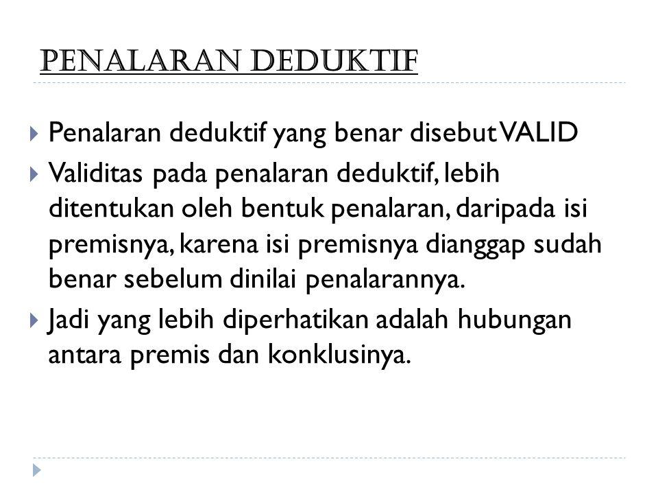 PENALARAN DEDUKTIF Penalaran deduktif yang benar disebut VALID.