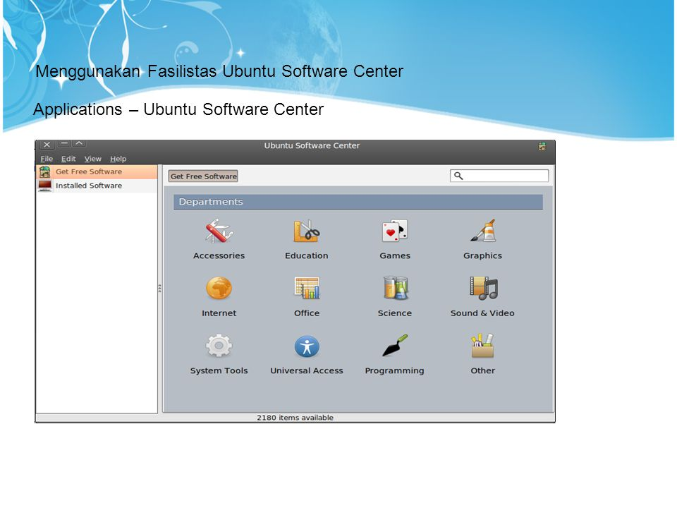 Menggunakan Fasilistas Ubuntu Software Center