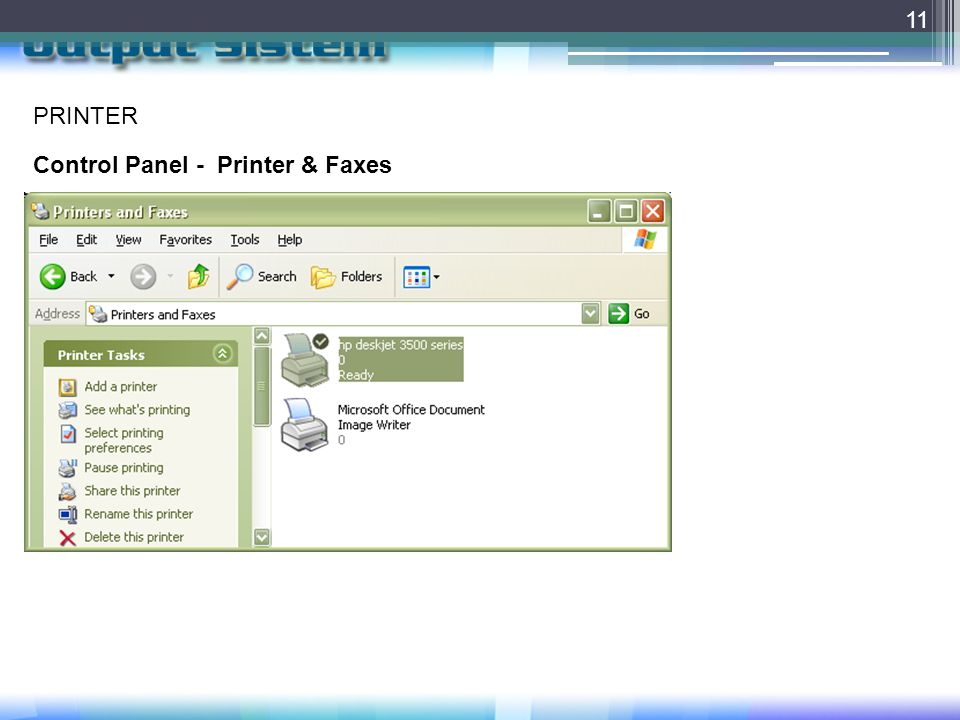 PRINTER Control Panel - Printer & Faxes