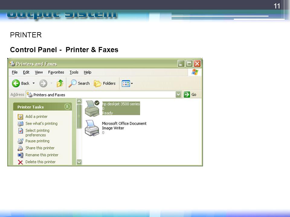 PRINTER Control Panel - Printer & Faxes
