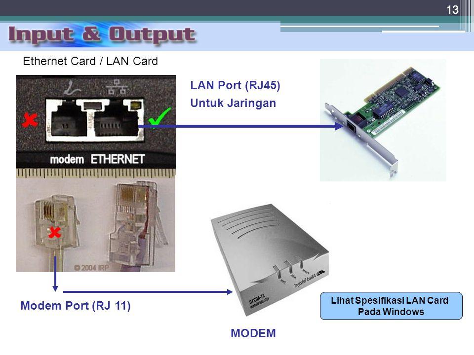 Lihat Spesifikasi LAN Card