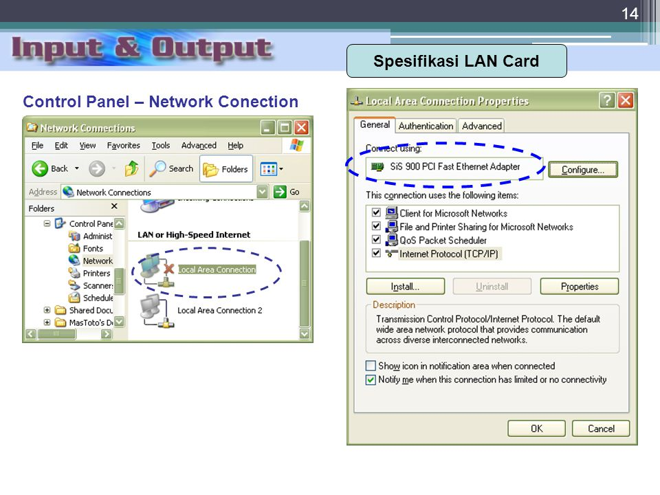 Spesifikasi LAN Card Control Panel – Network Conection