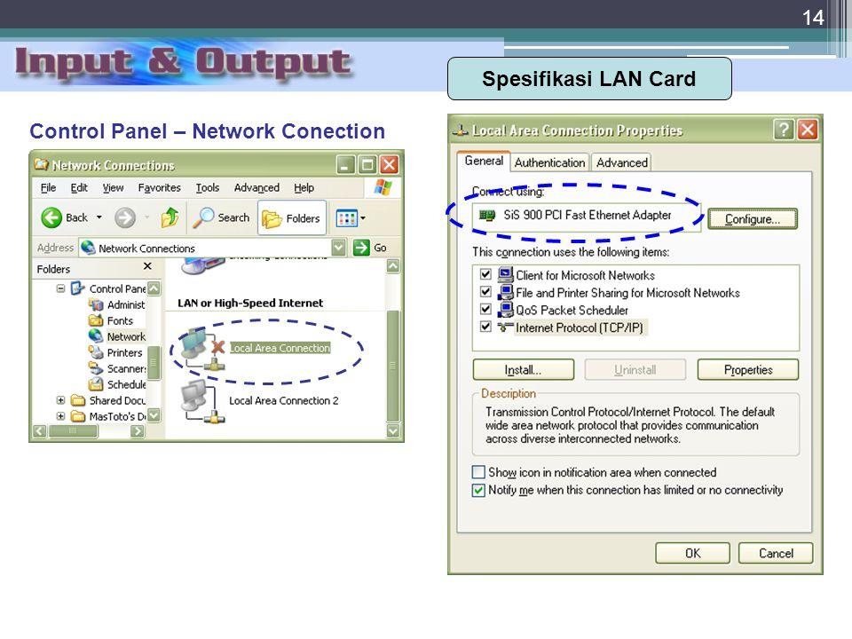 Spesifikasi LAN Card Control Panel – Network Conection