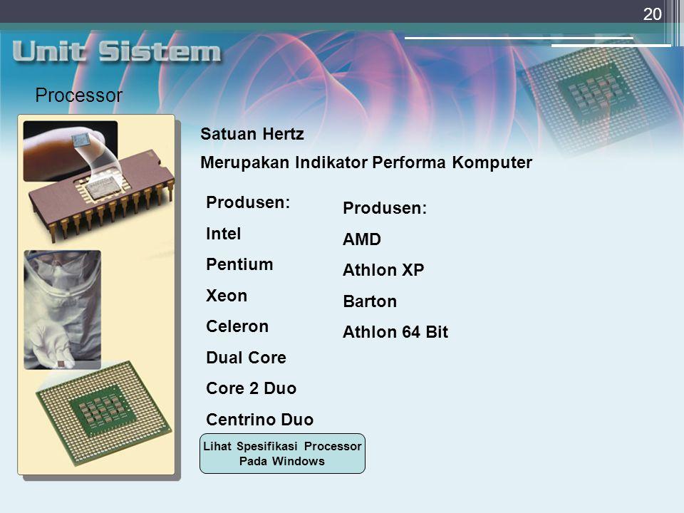 Lihat Spesifikasi Processor