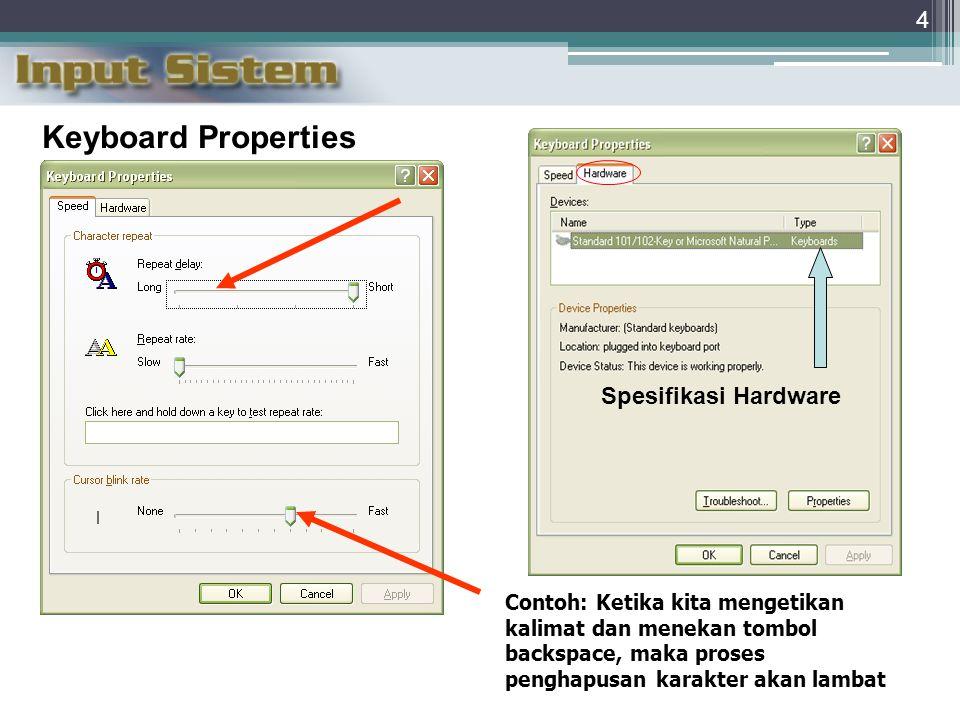 Keyboard Properties Spesifikasi Hardware