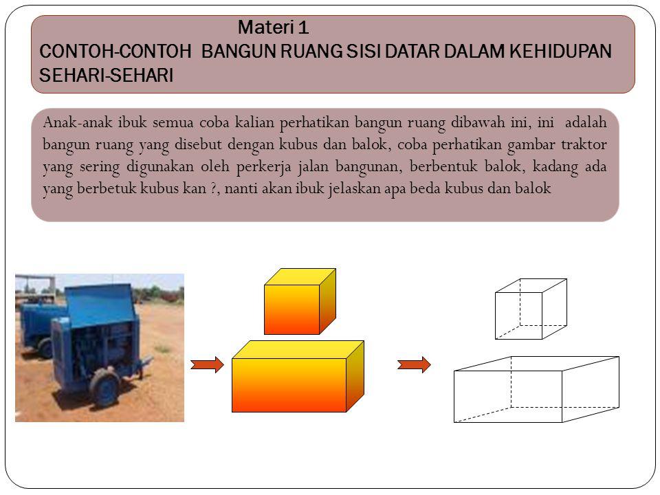 Materi 1 CONTOH-CONTOH BANGUN RUANG SISI DATAR DALAM KEHIDUPAN SEHARI-SEHARI