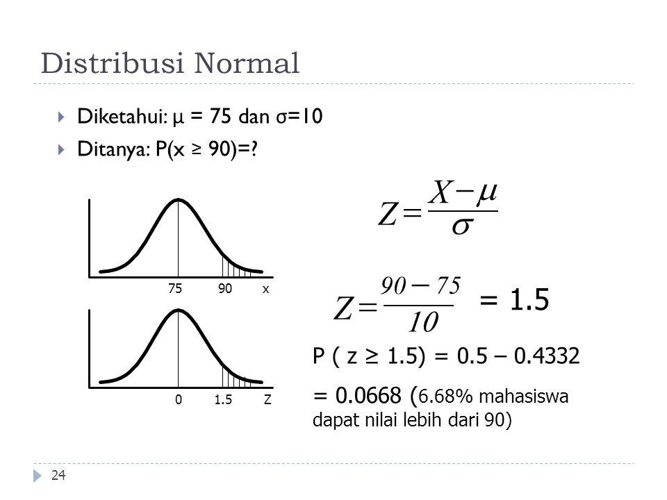 X Z m s - = - = Z Distribusi Normal = 1.5 10 90 75