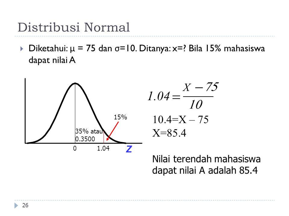 - = Distribusi Normal 75 1.04 10 X 10.4=X – 75 X=85.4