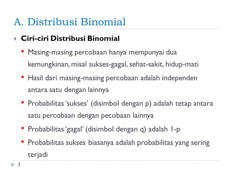 A. Distribusi Binomial Ciri-ciri Distribusi Binomial