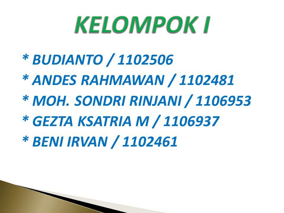 KELOMPOK I * BUDIANTO / 1102506 * ANDES RAHMAWAN / 1102481 * MOH.
