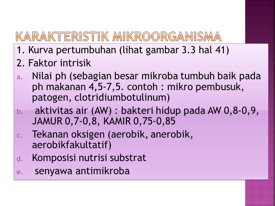 Karakteristik Mikroorganisma