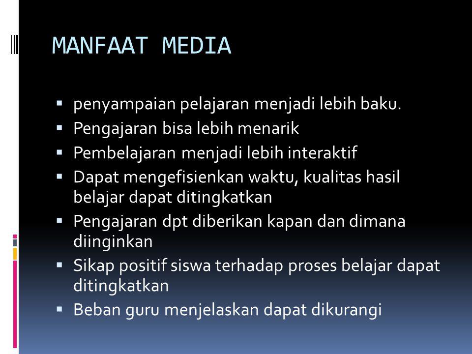 MANFAAT MEDIA penyampaian pelajaran menjadi lebih baku.