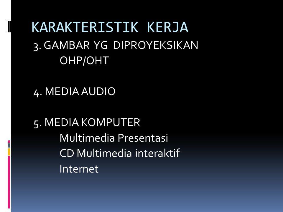 KARAKTERISTIK KERJA 3. GAMBAR YG DIPROYEKSIKAN OHP/OHT 4. MEDIA AUDIO