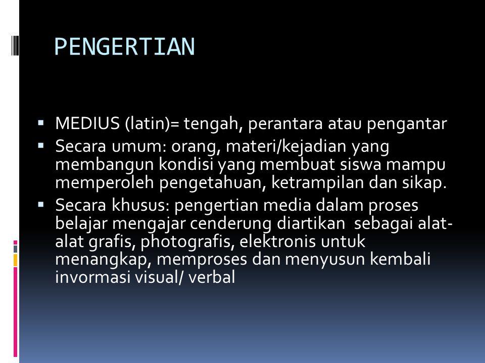 PENGERTIAN MEDIUS (latin)= tengah, perantara atau pengantar