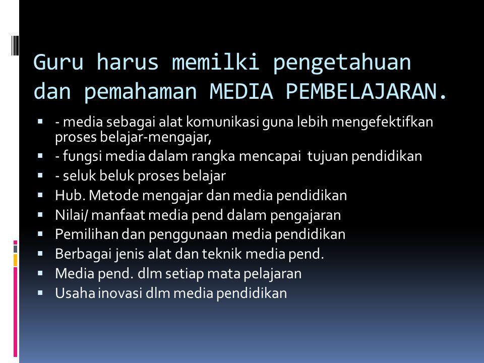 Guru harus memilki pengetahuan dan pemahaman MEDIA PEMBELAJARAN.