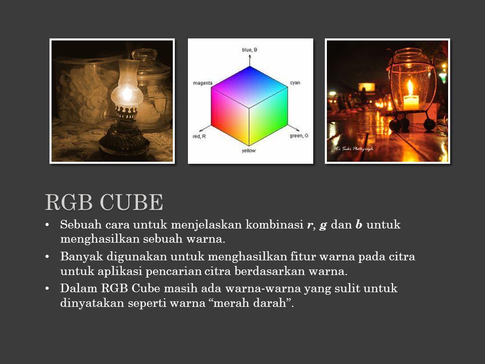 RGB CUBE Sebuah cara untuk menjelaskan kombinasi r, g dan b untuk menghasilkan sebuah warna.