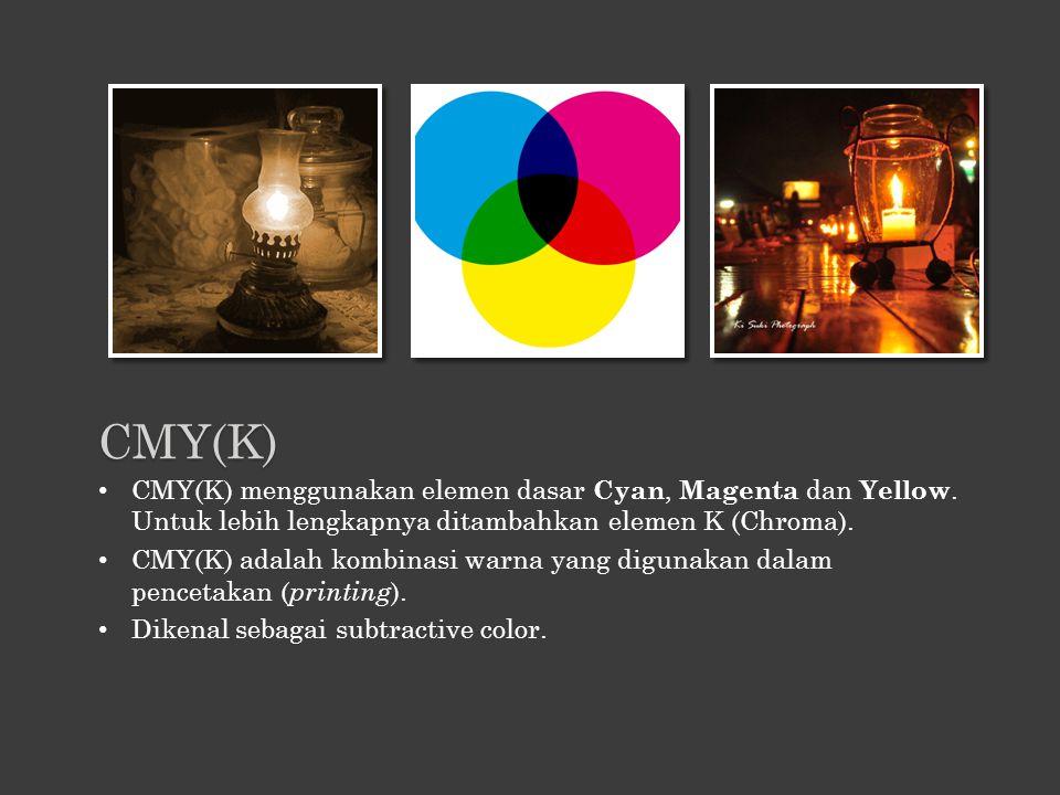 CMY(K) CMY(K) menggunakan elemen dasar Cyan, Magenta dan Yellow. Untuk lebih lengkapnya ditambahkan elemen K (Chroma).