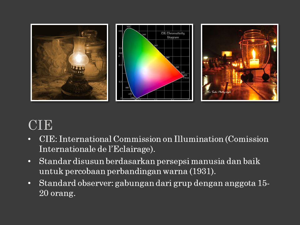 CIE CIE: International Commission on Illumination (Comission Internationale de l'Eclairage).