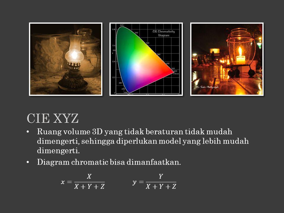 CIE XYZ Ruang volume 3D yang tidak beraturan tidak mudah dimengerti, sehingga diperlukan model yang lebih mudah dimengerti.
