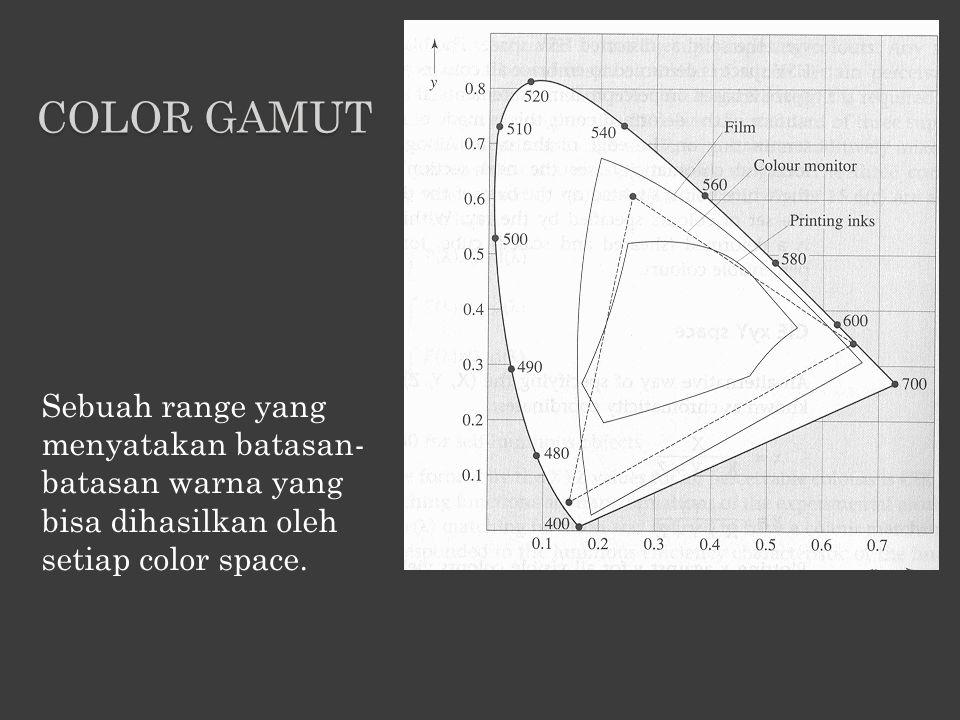 Color gamut Sebuah range yang menyatakan batasan-batasan warna yang bisa dihasilkan oleh setiap color space.