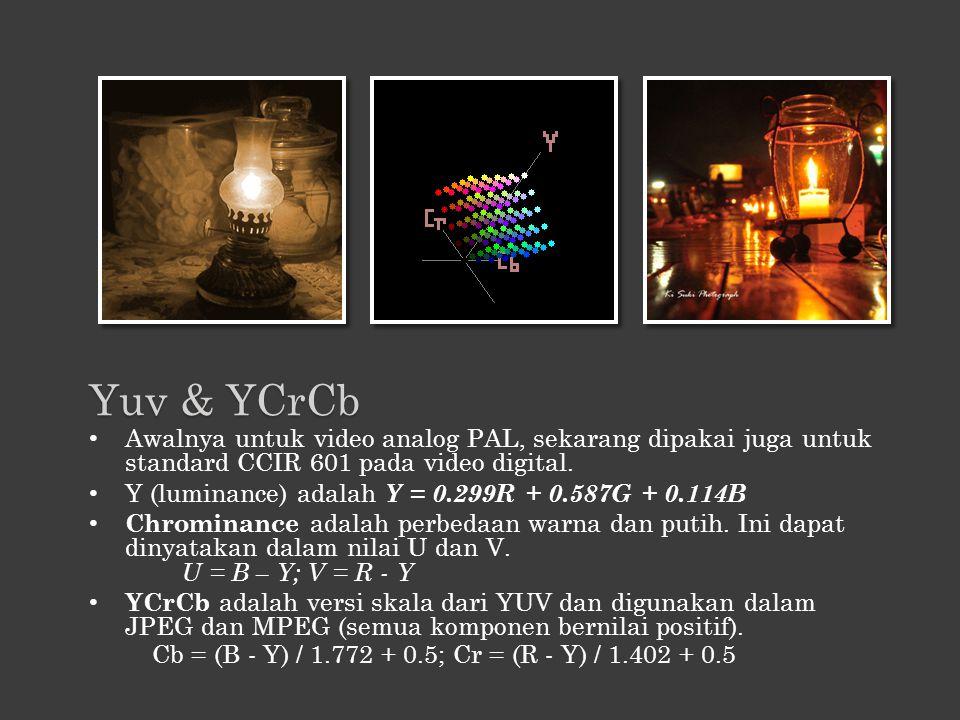 Yuv & YCrCb Awalnya untuk video analog PAL, sekarang dipakai juga untuk standard CCIR 601 pada video digital.